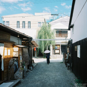 View along a side street of the Yanagimachi district in Ueda, Nagano Prefecture, Japan.