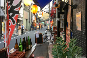 A lane of restaurants in a quiet side street of the Taito ward in Tokyo, Japan.