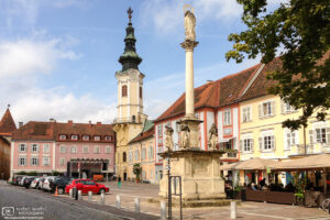 A view across the Hauptplatz (Main Square) of Bad Radkersburg in southern Styria, Austria.