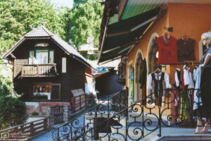 A local shop displaying a selection of traditional clothes in Sankt Wolfgang im Salzkammergut, Austria.