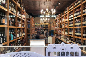 View into a wine store located in Vieux Lyon, the historic city center of Lyon, France.