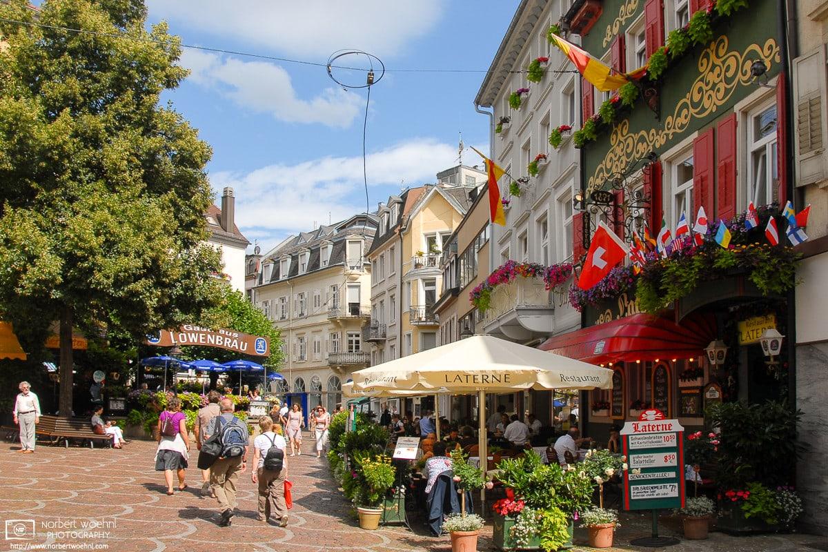 A summer scene from Gernsbacher Straße in the southwest-German spa town of Baden-Baden.