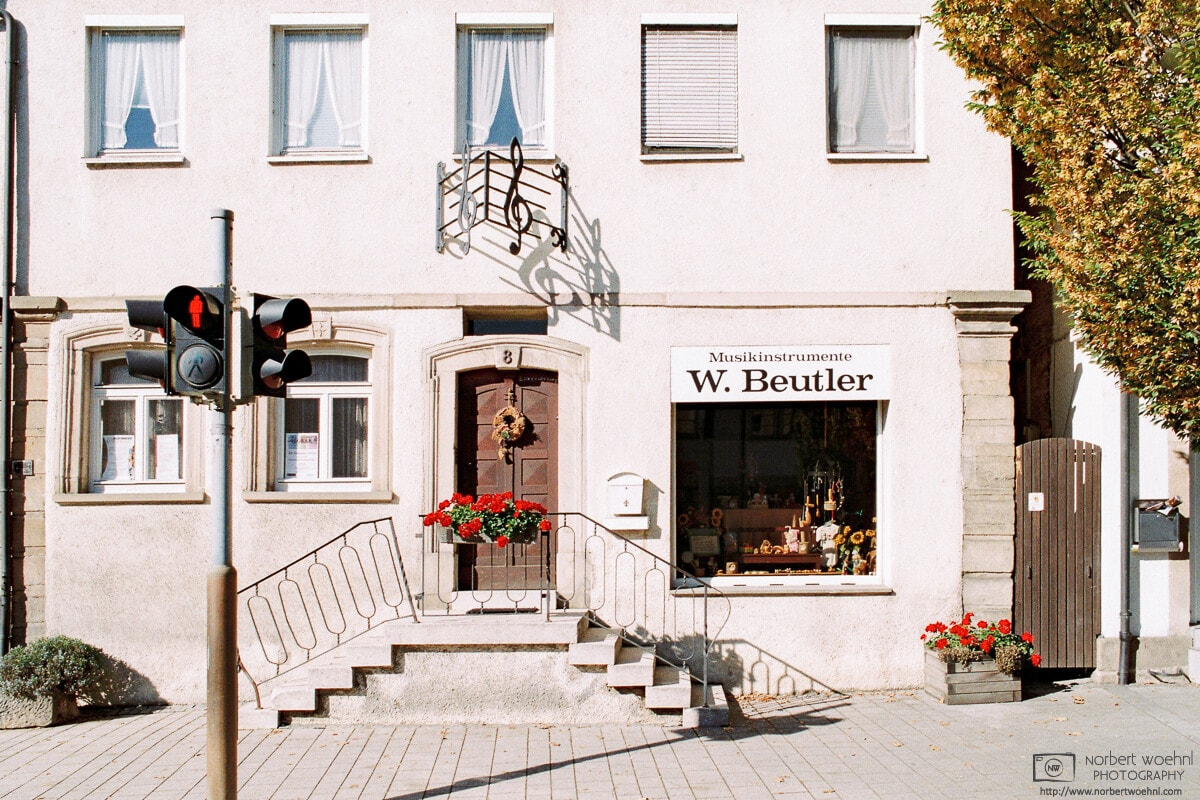 Exterior of an old store selling musical instruments in the German village of Neckartailfingen.