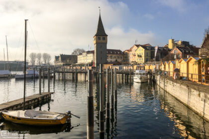The harbor of Lindau, Germany, provides a scenic setting for the city's annual Christmas Market.