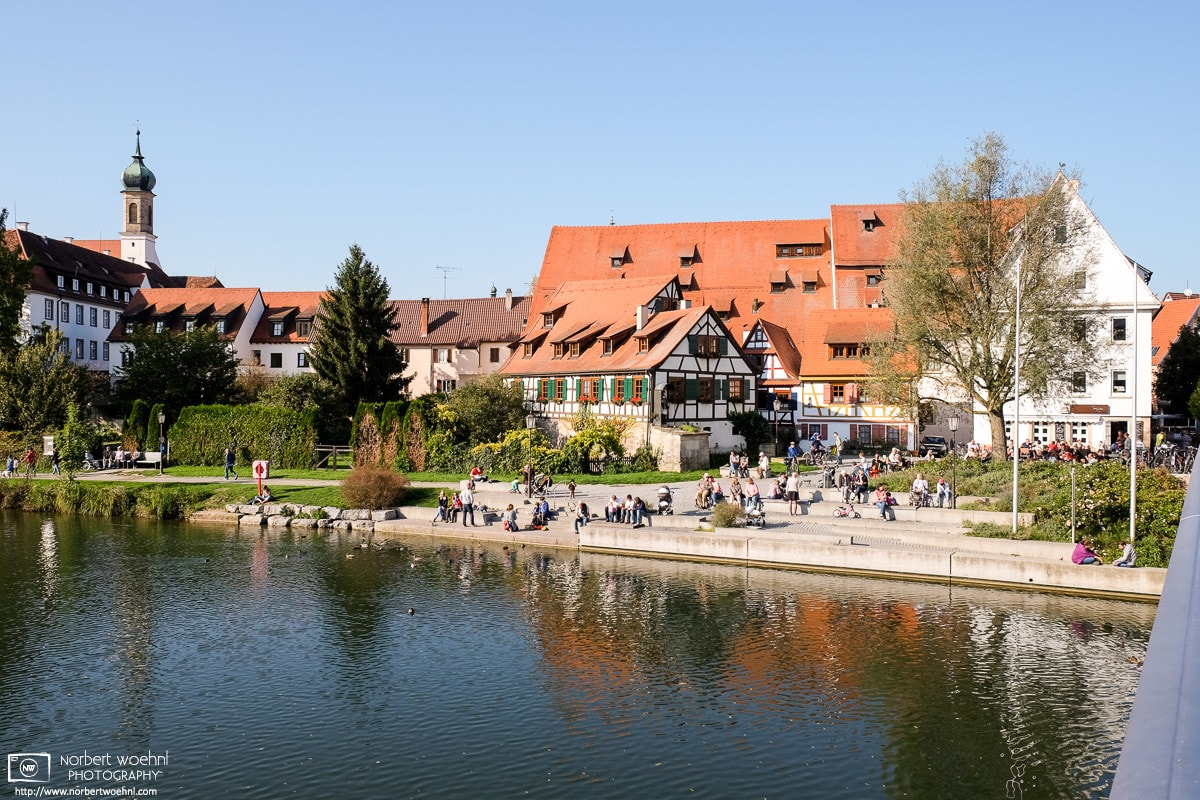 A view across the Neckar River towards the old town of Rottenburg am Neckar in the southwestern part of Germany.