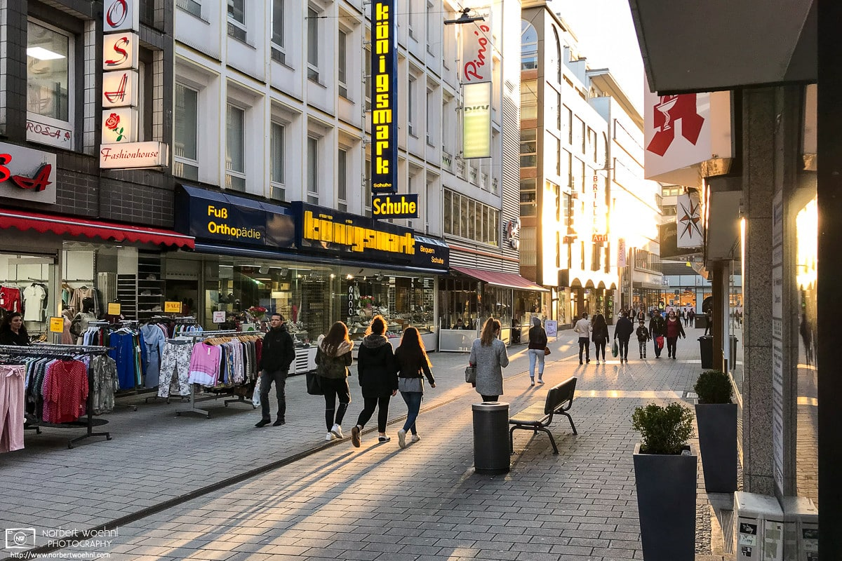 A bright late April afternoon on Turmhof, a shopping street in the center of Wuppertal, Germany.