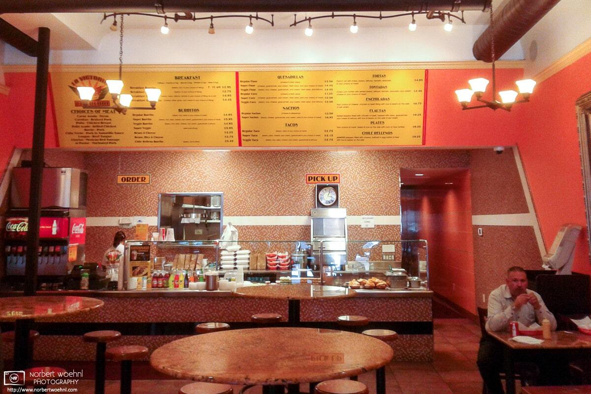 Mid-afternoon interior scene from La Victoria Taqueria in San Jose, California.