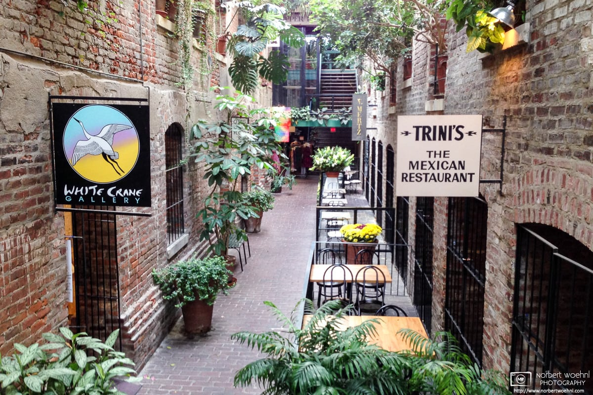 The passageway at the Old Market in Omaha, Nebraska, feels like an indoor garden lined with galleries and restaurants.