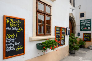 Signboards advertising the day's menu at a local pub in Sankt Margarethen, Burgenland, Austria.