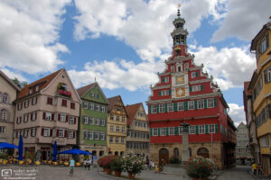 The old city hall of Esslingen, Germany, was built in 1422, and remodeled in Renaissance style between 1586 and 1589.