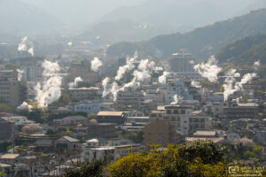 """A view of the """"Hells of Beppu"""", seven natural hot springs spread right across the city of Beppu in Oita Prefecture, Japan."""