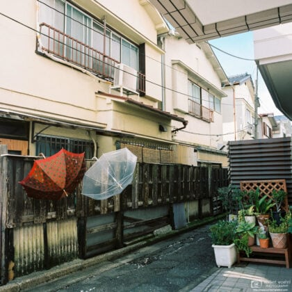 Umbrellas are left outside to dry in a residential area of Nishi-Ogikubo in Tokyo, Japan.