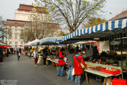 A stroll around the farmers' market on Kaiser-Josef-Platz in Graz, Austria, with the Opera House in the background.