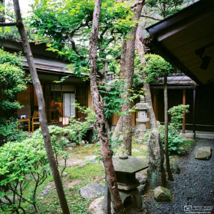 A small Japanese-style garden in the patio of a shop in the historic area of Takayama in Gifu Prefecture, Japan.