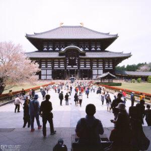 The Great Buddha Hall at Todai-ji Temple in Nara, Japan, houses the world's largest bronze statue of the Buddha Vairocana.