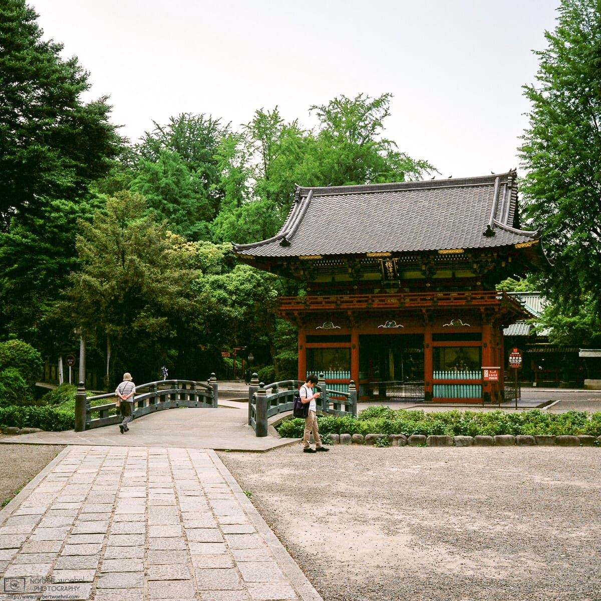 The two-storied Rōmon Gate at Nezu Shrine in Tokyo, Japan, was built in 1706.