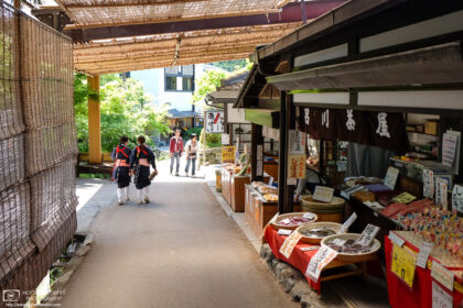 The approach to Sanzen-in Temple in Ohara, Kyoto, Japan is lined with shops selling souvenirs and a variety of food items.