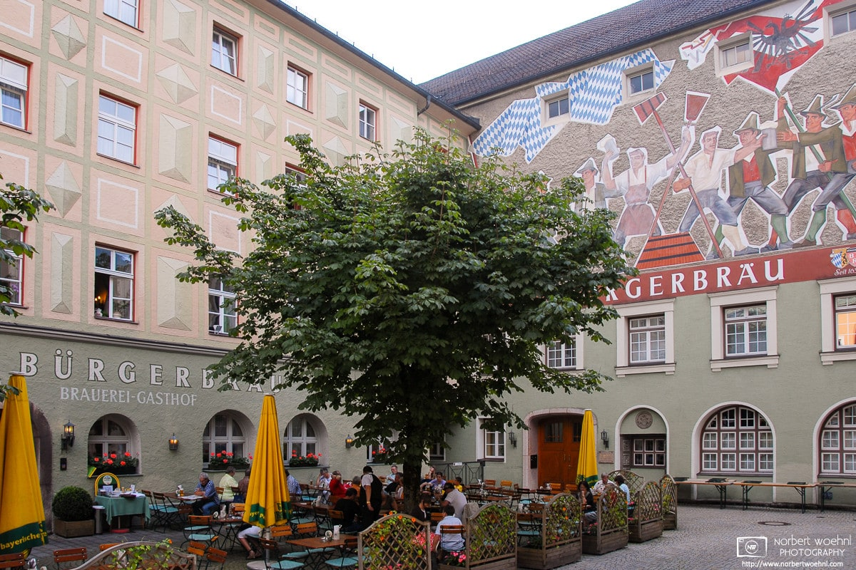 A view of Bürgerbräu in Bad Reichenhall, Germany. The adjacent brewery has been operating for many hundred years.