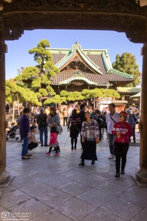A look through the gate of Shibamata Taishakuten, a Buddhist temple in the Katsushika ward of Tokyo, Japan.